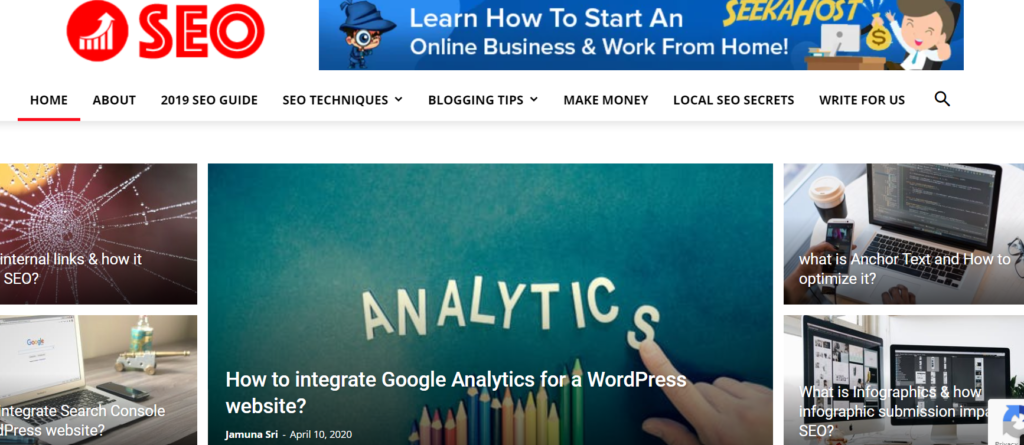 SEO Blog home page screenshot