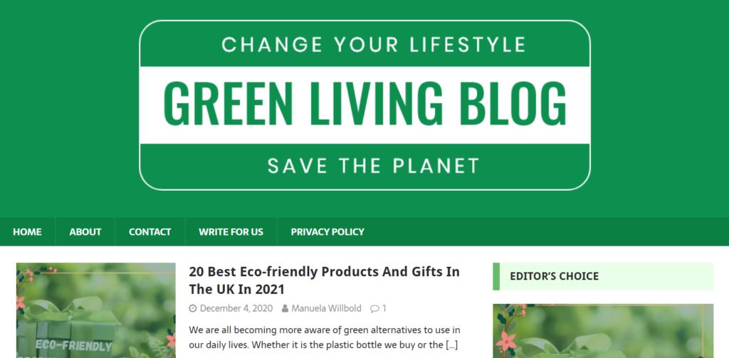 Screenshot Green Living Blog Homepage