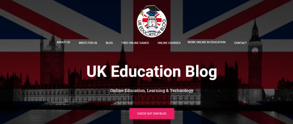 Screenshot UK Education Blog Homepage