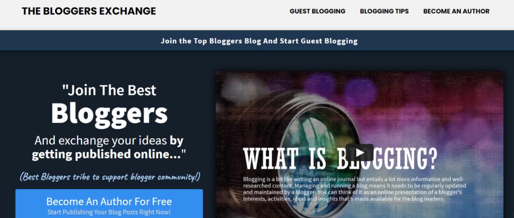 Screenshot of Bloggers Exchange Blog