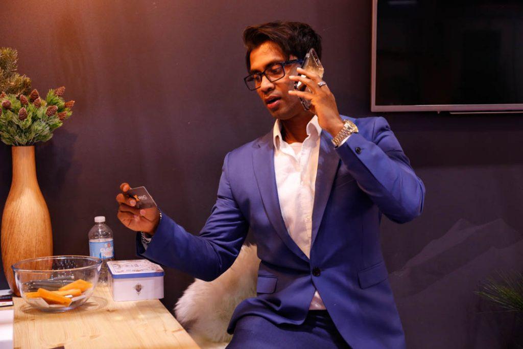 Fernando from ClickDo Ltd. on a call at the B2B Marketing Expo 2019