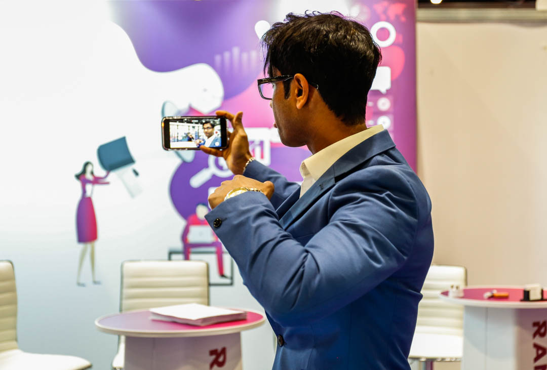 Fernando from ClickDo Ltd. taking photos at the B2B Marketing Expo 2019