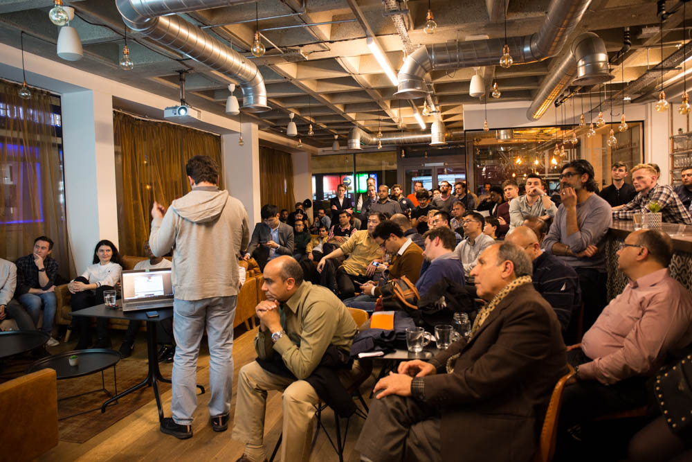 startup owner talks at the Tech Startups and Entrepreneurs Meetup