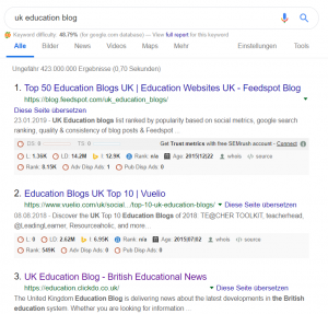 UK Education Blog ranks on Google