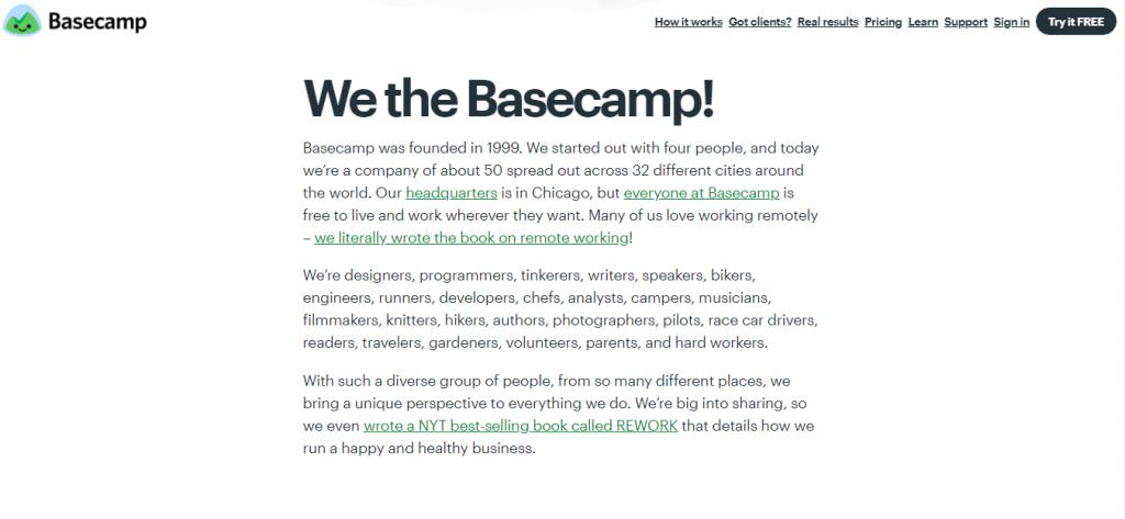 Basecamp shipping info pagr