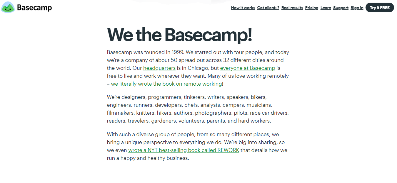 Basecamp shipping info pagr
