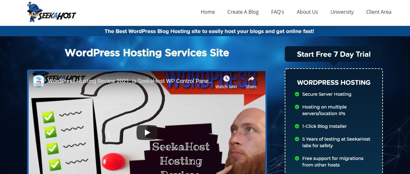 SeekaHost blog hosting services